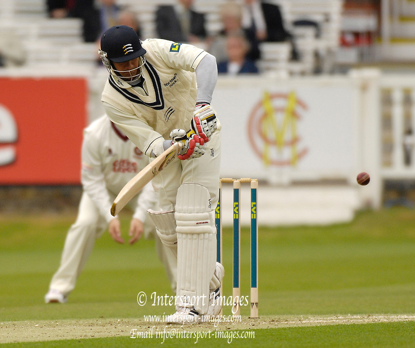 London, GREAT BRITAIN, Middlx's Owais SHAH,plays the ball, during the first session  the Liverpool Victoria Div 2 County championship match between  Middlesex vs Northamptonshire, at Lords Cricket ground, England on Wed 25.04.2007  [Photo, Peter Spurrier/Intersport-images].....
