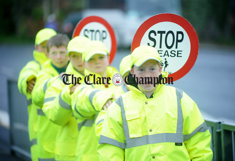 Cillian Nugent from Kilkishen National School leading his team during the Junior School's Traffic Warden event at St Finnachta's National School in Sixmilebridge. Photograph by Declan Monaghan