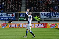 VOETBAL: HEERENVEEN: Abe Lenstra Stadion, SC Heerenveen - Feyenoord, 06-05-2012, Bas Dost (#12) bedankt het Heerenveen publiek voordat hij gewisseld wordt, Eindstand 2-3, ©foto Martin de Jong