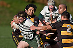 P. Lambert & Robert Katu try to stop Mark Selwyn as he heads upfield. Counties Manukau Premier Club Rugby game between Bombay & Manurewa played at Bombay on Saturday June 14th 2008..Bombay won 19 - 12 after leading 12 - 0 at halftime.