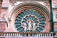 Paris: Notre Dame--Rose Window, nearly 80 ft. across. Rose window forms halo for Mary and Christ. Photo '87.