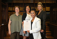 Marlina Coschignano (FRONT) with friends and relatives at the Citizenship Ceremony at Carmarthen Register Office, Carmarthenshire, Wales, UK. Monday 22 August 2016