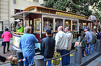 Queue, cable car, Powell Street, San Francisco, California, USA, 201304131313<br /> <br /> Copyright Image from Victor Patterson, 54 Dorchester Park, Belfast, UK, BT9 6RJ<br /> <br /> Tel: +44 28 9066 1296<br /> Mob: +44 7802 353836<br /> Voicemail +44 20 8816 7153<br /> Skype: victorpattersonbelfast<br /> Email: victorpatterson@me.com<br /> Email: victorpatterson@ireland.com (back-up)<br /> <br /> IMPORTANT: If you wish to use this image or any other of my images please go to www.victorpatterson.com and click on the Terms &amp; Conditions. Then contact me by email or phone with the reference number(s) of the image(s) concerned.