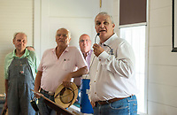 NWA Democrat-Gazette/BEN GOFF @NWABENGOFF<br /> Doug Sprouse, Springdale mayor, makes remarks Saturday, June 30, 2018, during a grand opening for the renovated Shiloh Meeting Hall in downtown Springdale. Constructed in 1871, the building served as a home to multiple church congregations, fraternal organizations and other community functions over it's lifetime. In 2005 the Independent Order of Odd Fellows donated the building to the Shiloh Museum of Ozark History for it's restoration and preservation. The restored first floor will again be used by community groups and the museum for functions, and will be available to rent for events. The second floor, expected to open in 2020, will be an exhibit hall telling the story of the building and the history of the organizations that have called it home.