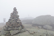 Foggy conditions along the Appalachian Trail (Franconia Ridge Trail) on the summit of Mount Lafayette in the White Mountains of New Hampshire in during the autumn months.