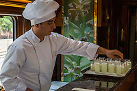 Peru.  Chef Preparing Pisco Sours, Inca Rail Executive Class Train, Ollantaytambo to Machu Picchu.