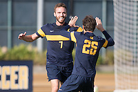 BERKELEY, CA - October 13, 2016: Trevor Haberkorn celebrates scoring a first half goal with Ugo Rebecchini (26). Cal played UCLA at Edwards Stadium.