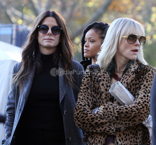 NEW YORK, NY November 07:Sandra Bullock, Rihanna, Cate Blanchett, shooting on location for Ocean 8 in Central Park New York .November 07, 2016. Credit:RW/MediaPunch