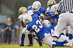Culver City, CA 09/17/10 - Logan Okuda (Peninsula #25), Ky Dorsey (Culver City #23), Khalil Pettway (Culver City #42) and Reggie House (Culver City #2) in action during the Peninsula Panthers-Culver City Centaurs varsity football game at Culver City High School.