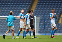 18th July 2020; Ewood Park, Blackburn, Lancashire, England; English Football League Championship Football, Blackburn Rovers versus Reading; match winning goalscorer Sam Gallagher of Blackburn Rovers is congratulated by his team mates at the final whistle