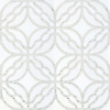 Claudette, a hand-cut and waterjet stone mosaic, shown in polished Afyon White and tumbled Thassos, is part of the Parterre Collection by Paul Schatz for New Ravenna.