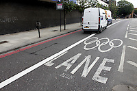 18.07.2012. London, England.  Empty Olympic Car Pool Lane is seen in south London on 18 July 2012.