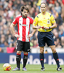 Athletic de Bilbao's Benat Etxebarria with the referee Alfon Javier Alvarez Izquierdo during La Liga match. February 13,2016. (ALTERPHOTOS/Acero)