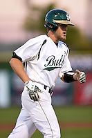 USF Bulls catcher Levi Borders (12) runs the bases after hitting a home run during a game against the Louisville Cardinals on February 14, 2015 at Bright House Field in Clearwater, Florida.  Louisville defeated USF 7-3.  (Mike Janes/Four Seam Images)