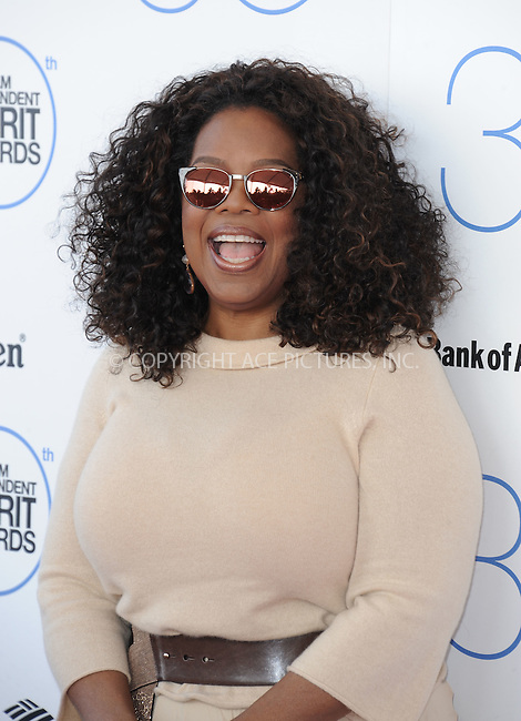 WWW.ACEPIXS.COM<br /> <br /> February 21 2015, LA<br /> <br /> Oprah Winfrey arriving at the 2015 Film Independent Spirit Awards at Santa Monica Beach on February 21, 2015 in Santa Monica, California.<br /> <br /> By Line: Peter West/ACE Pictures<br /> <br /> <br /> ACE Pictures, Inc.<br /> tel: 646 769 0430<br /> Email: info@acepixs.com<br /> www.acepixs.com