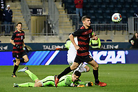Chester, PA - Friday December 08, 2017: Nico Corti, Tomas Hilliard-Arce The Stanford Cardinal defeated the Akron Zips 2-0 during an NCAA Men's College Cup semifinal match at Talen Energy Stadium.
