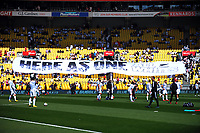 A banner is unfurled in the grandstand before the 2018 FIFA World Cup Russia first-leg playoff football match between the NZ All Whites and Peru at Westpac Stadium in Wellington, New Zealand on Saturday, 11 November 2017. Photo: Mike Moran / lintottphoto.co.nz