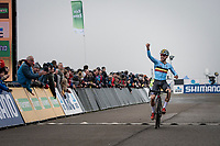 Jelle Camps (BEL) celebrating his 2nd place finish as a victory<br /> <br /> U23 Men's Race<br /> UCI cyclocross WorldCup - Koksijde (Belgium)<br /> <br /> ©kramon