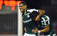 ENVIGADO -COLOMBIA, 21-07-2018: Jose Sand jugador de Deportivo Cali celebra después de anota un gol a Envigado FC durante partido por la fecha 1 de la Liga Águila II 2018 realizado en el Polideportivo Sur de la ciudad de Envigado. / Jose Sand player of Deportivo Cali celebrates after scoring a goal to Envigado FC during match for the date 1 of the Aguila League II 2018 played at Polideportivo Sur in Envigado city.  Photo: VizzorImage/ León Monsalve / Cont
