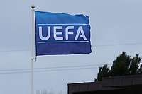 The UEFA flag on display at Chelsea's Training Ground during Chelsea Under-19 vs Montpellier HSC Under-19, UEFA Youth League Football at the Cobham Training Ground on 13th March 2019