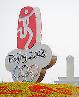 Aug. 6, 2008; Beijing, CHINA; The Olympic logo in Tiananmen Square in Beijing. The Olympics begin at 8pm on August 8, 2008. Mandatory Credit: Mark J. Rebilas-