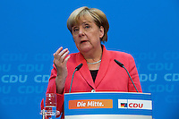 19 September 2016 - Berlin, Germany - German Chancellor Angela Merkel and the Berlin CDU candidate Frank_Henkel occur after the Berlin election on September 19, 2016, before the press in the Konrad-Adenauer-House of CDU headquarters in Berlin. Previously there was a bouquet of the Chancellor for the Berlin top candidate.<br /> Photo Credit: Stocki/face to face/AdMedia