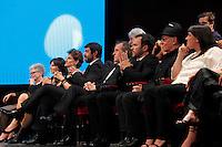 Cerimonia di consegna del premio Le Maschere del Teatro Italiano al Teatro San Carlo di Napoli , 5 Settembre 2014<br /> nella foto alcuni dei Nominati