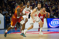 Real Madrid´s Sergio Rodriguez and Galatasaray´s Young during 2014-15 Euroleague Basketball match between Real Madrid and Galatasaray at Palacio de los Deportes stadium in Madrid, Spain. January 08, 2015. (ALTERPHOTOS/Luis Fernandez) /NortePhoto /NortePhoto.com