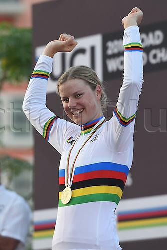 15.10.2016. Doha, Qatar. UCI World Championship cycling Womens Elite championships.  DIDERIKSEN Amalie (DEN) on the winners podium