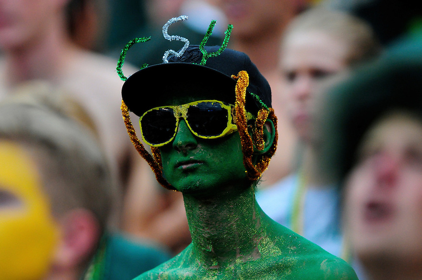 31 Aug 2008: A Colorado State fan displays his pride during a game against Colorado. The Colorado Buffaloes defeated the Colorado State Rams 38-17 at Invesco Field at Mile High in Denver, Colorado. FOR EDITORIAL USE ONLY