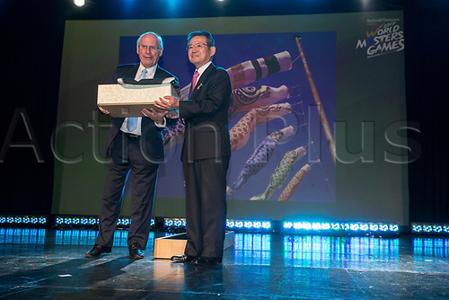 April 30th 2017, Auckland, New Zealand; Closing Ceremony of the World Masters Games; WMG2021 chairman Shosuke Mori  with Sir John Wells, chairman of WMG2017 during the closing ceremony of the World Masters Games 2017 held at The Cloud on Auckland's waterfront