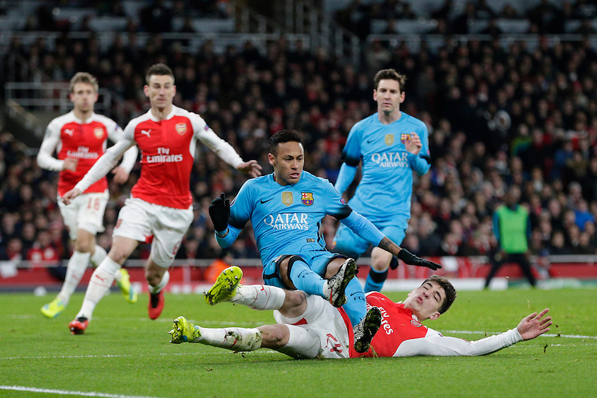 Barcelona's Neymar is tackled by Arsenal's Hector Bellerin<br /> <br /> Photographer Craig Mercer/CameraSport<br /> <br /> Football - UEFA Champions League Round of 16 - Arsenal v Barcelona - Tuesday 23rd February 2016 - Emirates Stadium - London<br /> <br /> &copy; CameraSport - 43 Linden Ave. Countesthorpe. Leicester. England. LE8 5PG - Tel: +44 (0) 116 277 4147 - admin@camerasport.com - www.camerasport.com