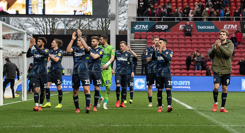 Leeds United players applaud the fans at the final whistle <br /> <br /> Photographer David Horton/CameraSport<br /> <br /> The EFL Sky Bet Championship - Bristol City v Leeds United - Saturday 9th March 2019 - Ashton Gate Stadium - Bristol<br /> <br /> World Copyright © 2019 CameraSport. All rights reserved. 43 Linden Ave. Countesthorpe. Leicester. England. LE8 5PG - Tel: +44 (0) 116 277 4147 - admin@camerasport.com - www.camerasport.com