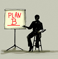 Businessman presenting Plan B on flipchart