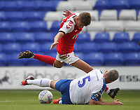 Fleetwood Town's Harrison Biggins battles with Tranmere Rovers Stephen McNulty<br /> <br /> Photographer Mick Walker/CameraSport<br /> <br /> Football Pre-Season Friendly - Tranmere Rovers  v Fleetwood Town  - Saturday 21st July 2018 - Prenton Park - Tranmere<br /> <br /> World Copyright &copy; 2018 CameraSport. All rights reserved. 43 Linden Ave. Countesthorpe. Leicester. England. LE8 5PG - Tel: +44 (0) 116 277 4147 - admin@camerasport.com - www.camerasport.com