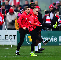 Lincoln City's Harry Anderson, left, and Danny Rowe during the pre-match warm-up<br /> <br /> Photographer Andrew Vaughan/CameraSport<br /> <br /> The EFL Sky Bet League Two - Lincoln City v Grimsby Town - Saturday 19 January 2019 - Sincil Bank - Lincoln<br /> <br /> World Copyright © 2019 CameraSport. All rights reserved. 43 Linden Ave. Countesthorpe. Leicester. England. LE8 5PG - Tel: +44 (0) 116 277 4147 - admin@camerasport.com - www.camerasport.com