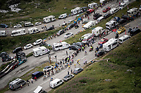 Yellow Jersey group coming up towards Val thorens<br /> <br /> shortened stage 20: Albertville to Val Thorens (59km in stead of the original 130km due to landslides/bad weather)<br /> 106th Tour de France 2019 (2.UWT)<br /> <br /> ©kramon