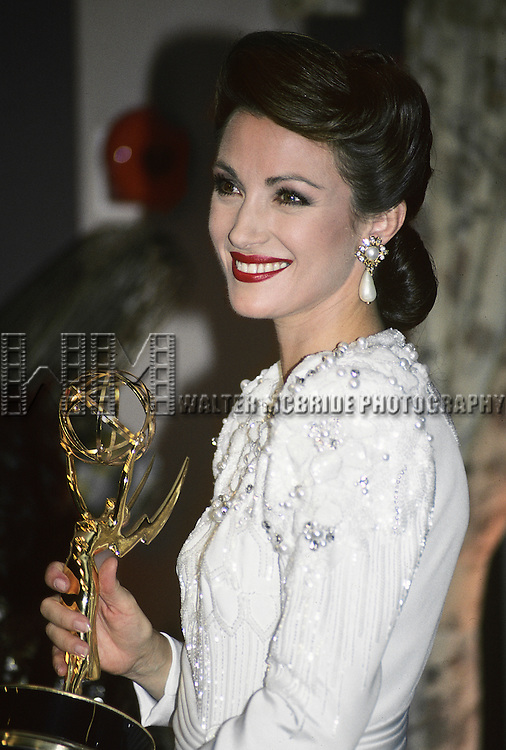 Jane Seymour pictured at the 1990 Emmy awards in Los Angeles, California.