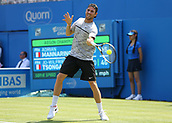 June 19th 2017, Queens Club, West Kensington, London; Aegon Tennis Championships, Day 1; Adrian Mannarino of France plays the forehand shot during his first round match as he loses to Jo-Wilfried Tsonga of France