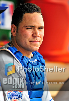 25 April 2010: Los Angeles Dodgers' catcher Russell Martin sits in the dugout during a game against the Washington Nationals at Nationals Park in Washington, DC. The Nationals shut out the Dodgers 1-0 to take the rubber match of their 3-game series. Mandatory Credit: Ed Wolfstein Photo