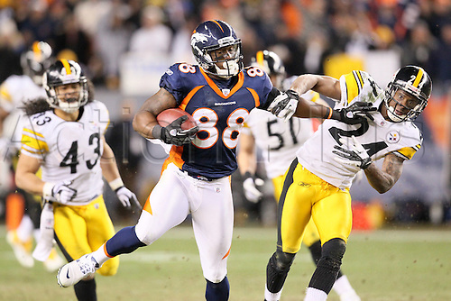 08 January 2012: Denver Broncos wide receiver Demaryius Thomas (88) catches a pass in overtime to score the game winning touchdown.  The Denver Broncos defeated the Pittsburgh Steelers by a score of 29 to 23 at Sports Authority Field at Mile High, Denver, CO.  ..