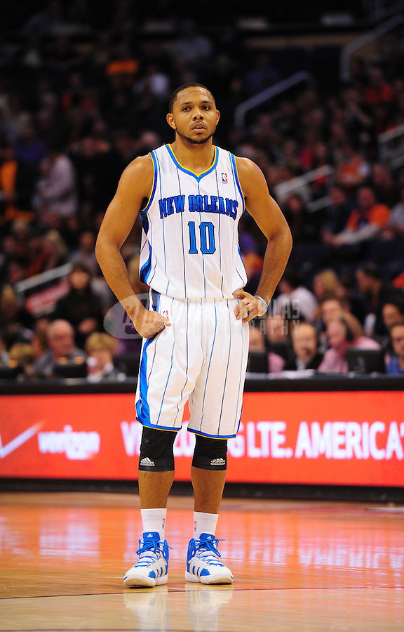 Dec. 26, 2011; Phoenix, AZ, USA; New Orleans Hornets guard Eric Gordon during game against the Phoenix Suns at the US Airways Center. The Hornets defeated the Suns 85-84. Mandatory Credit: Mark J. Rebilas-USA TODAY Sports