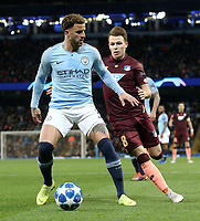 Manchester City's Kyle Walker shields the ball from 1899 Hoffenheim's Dennis Geiger<br /> <br /> Photographer Rich Linley/CameraSport<br /> <br /> UEFA Champions League Group F - Manchester City v TSG 1899 Hoffenheim - Wednesday 12th December 2018 - The Etihad - Manchester<br />  <br /> World Copyright © 2018 CameraSport. All rights reserved. 43 Linden Ave. Countesthorpe. Leicester. England. LE8 5PG - Tel: +44 (0) 116 277 4147 - admin@camerasport.com - www.camerasport.com