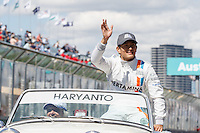 March 20, 2016: Rio Haryanto (IDN) #88 from the Manor Racing at the drivers' parade prior to the 2016 Australian Formula One Grand Prix at Albert Park, Melbourne, Australia. Photo Sydney Low