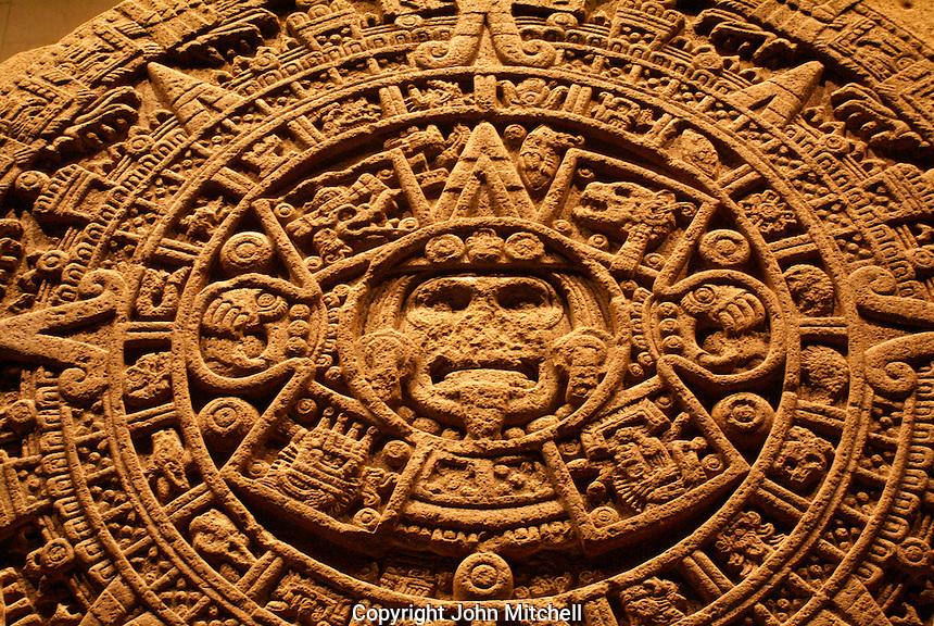 Aztec Calendar Stone or Sun Stone, Sala Mexica, National Museum of Anthropolgy, Mexico City. This calendar discovered in 1790 beneath Mexico City's Zocalo.