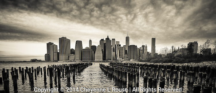 New York City Skyline (Sepia) - Brooklyn Bridge Park