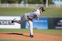 Glendale Desert Dogs relief pitcher Kyle Zurak (70), of the New York Yankees organization, follows through on his delivery during an Arizona Fall League game against the Surprise Saguaros at Surprise Stadium on November 13, 2018 in Surprise, Arizona. Surprise defeated Glendale 9-2. (Zachary Lucy/Four Seam Images)