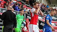 Fleetwood Town's Cian Bolger douses himself as he emerges from the tunnel <br /> <br /> Photographer Andrew Kearns/CameraSport<br /> <br /> The Carabao Cup First Round - Fleetwood Town v Carlisle United Kingdom - Tuesday 8th August 2017 - Highbury Stadium - Fleetwood<br />  <br /> World Copyright &copy; 2017 CameraSport. All rights reserved. 43 Linden Ave. Countesthorpe. Leicester. England. LE8 5PG - Tel: +44 (0) 116 277 4147 - admin@camerasport.com - www.camerasport.com