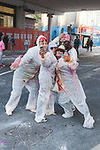 24/08/2014. London, England. Time for a selfie. Notting Hill Carnival 2014 starts with the traditional early-morning J'ouvert or Jouvet parade down Ladbroke Grove where revellers throw paint and flour.
