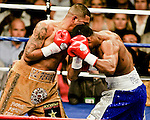 FEBRUARY 24 2006 The left eye of Fernando Vargas swells up and the fight was called in the 10th round because of swelling in the left eye of Vargas as Mosley was given the 10th round TKO victory in the junior middleweight fight at the Mandalay Bay Events Center on February 25, 2006 in Las Vegas, Nevada.